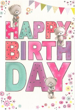 """Open Female Birthday Card - Grey Bears, Bright Text & Pink Flowers 7.75"""" x 5.25"""""""