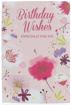 Open Female Birthday Card - Pink Lilac Abstract Flowers with Glitter 7.75x5.25""
