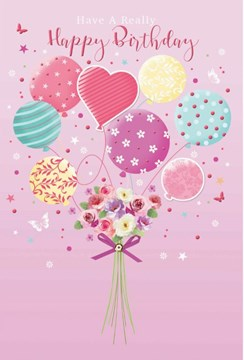 Open Female Birthday Card - Flower Bouquet Balloons and Butterflies 7.75x5.25""