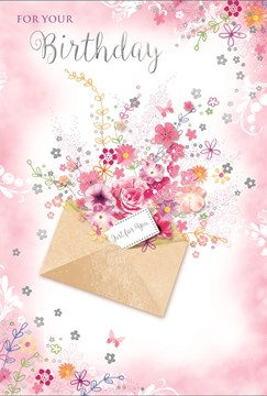 Open Female Birthday Card - Bright Flowers inside Envelope with Foil 7.75x5.25""