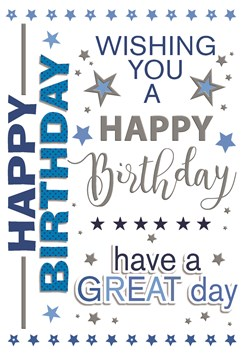 """Open Male Birthday Card - Blue Writing and Star with Silver Foil 7.75"""" x 5.25"""""""