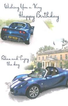 "Open Male Birthday Card - Dark Blue Sports Cars Foiled Writing 7.75""x5.25"""