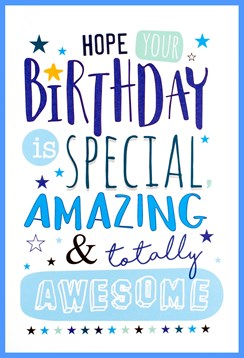 """Open Male Birthday Card - Blue and Green Writing with Stars 7.75"""" x 5.25"""""""