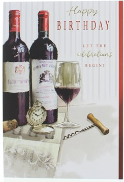 """Open Male Birthday Card - Red Wine Bottles Glass and Watch with Foil 7.75x5.25"""""""