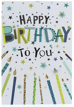 "Open Male Birthday Card - Foil Writing With Green & Blue Candles  7.75"" x 5.25"""