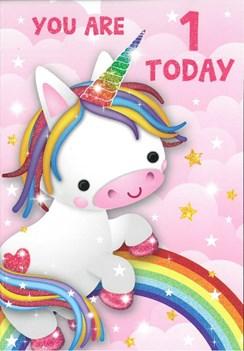 "Age 1 Girl Birthday Card - 1st Birthday Rainbow Unicorn with Glitter 7.75x5.25"""