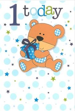 """Age 1 Boy Birthday Card - 1st Birthday Brown Teddy Bear with Present 7.75""""x5.25"""""""