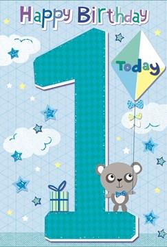 Age 1 Boy Birthday Card - 1st Birthday Grey Bear with Kite and Glitter 7.75x5.25
