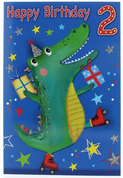 Age 2 Boy Birthday Card - 2nd Birthday Crocodile in Party Hat 7.75x5.25""