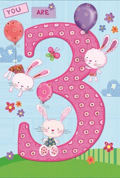 "Age 3 Girl Birthday Card - Pink Rabbits, Tiny Flowers & Balloons 7.75"" x 5.25"""
