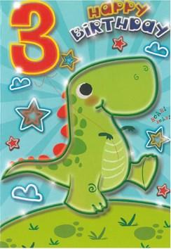 """Age 3 Boy Birthday Card - 3rd Birthday Green Dinosaur 7.75"""" x 5.25"""""""