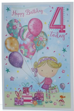 Age 4 Girl Birthday Card - 4th Birthday Girl With Balloons Confetti 7.75x5.25""