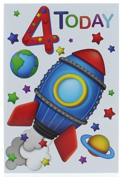 Age 4 Boy 4th Birthday Card - Blue and Red Space Rocket Planets Stars 7.75x5.25""