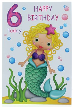 "Age 6 Girl Birthday Card -Mermaid, Bubbles & Pink & Purple Writing 7.75"" x 5.25"""