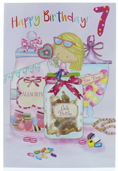 Age 7 Girl Birthday Card - 7th Birthday Girl with Giant Sweet Jars 7.75x5.25""