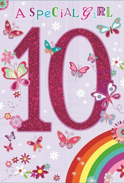 Greetings Age 10 Girl Birthday Card - Glitter 10 With Rainbow  7.75 x 5.25""