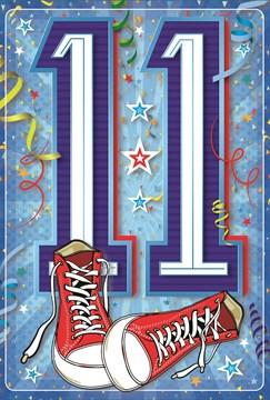 "Age 11 Boy Birthday Card -11th Birthday Blue with Red Converse & Foil 7.75x5.25"""