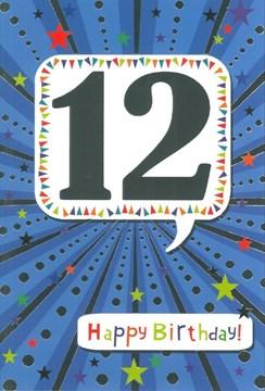 """Age 12 Boy Birthday Card - 12th Birthday Blue with Silver Foil 7.75x5.25"""""""