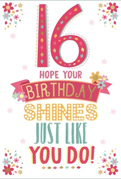 """Age 16 Girl Birthday Card - Hot Pink Text & Bright Little Flowers 7.75"""" x 5.25"""""""