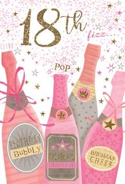 Age 18 Female Birthday Card 18th Birthday Bottles & Stars with Glitter 7.75x5.25