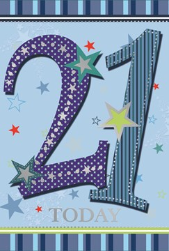 """Age 21 Male Birthday Card - Blue Numbers, Stripes & Silver Stars 7.75"""" x 5.25"""""""