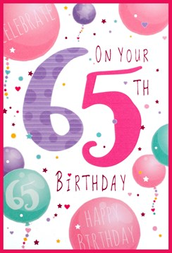 """Age 65 Female 65th Birthday Card - Pink & Lilac Numbers Balloons 7.75"""" x 5.25"""