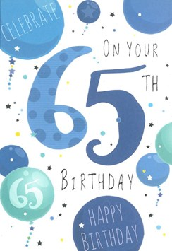 "Age 65 Male Birthday Card - Blue Numbers, Balloons & Little Stars 7.75"" x 5.25"""