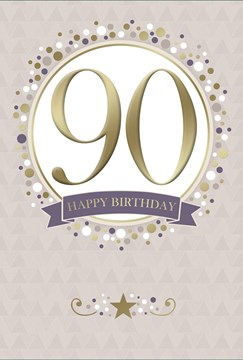 "Age 90 Male Birthday Card - 90th Big Gold Foil Number in Circle 7.75"" x 5.25"""