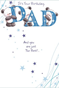 "Dad Birthday Card - Panda Bears Holding Blue Letters & Tiny Stars 7.75"" x 5.25"""