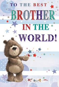 """Brother Birthday Card - Brown Bear with Party Popper Stars & Foil 7.75"""" x 5.25"""""""