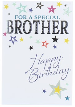 """Brother Birthday Card - Multi Coloured Stars & Silver Foil Detail  7.75"""" x 5.25"""""""