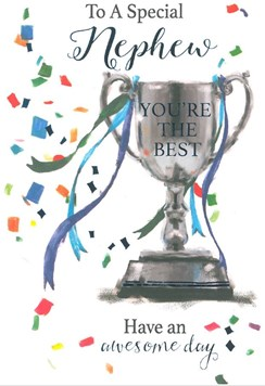 "Nephew Birthday Card - Trophy with Streamers and Blue Foiled Writing 7.75""x5.25"""