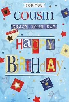 Cousin Birthday Card Blue Multicoloured Writing Stars and Gold Foil 7.75x5.25""