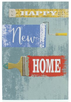 """New Home Greetings Card - Writing With Paint Brush & Tape Measure  7.75"""" x 5.25"""""""