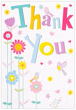 "Thank You Greetings Card - Big Multicoloured Text, Birds & Flowers 7.75"" x 5.25"""