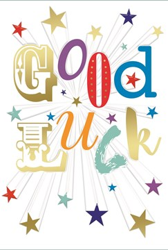 """Good Luck Greetings Card - Multicoloured Text & Little Gold Stars 7.75"""" x 5.25"""""""