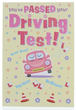 """Passed Your Driving Test Greetings Card -Pink Car, L Plates & Flowers 7.5""""x5.25"""""""