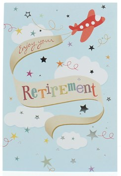"""Retirement Greetings Card Plane Multicoloured Writing and Foil Stars 7.75x5.25"""""""