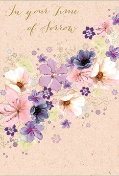 "With Sympathy Greetings Card - Big Pink, Lilac & Navy Blue Flowers 7.75"" x 5.25"""