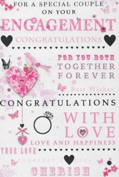 "Engagement Congratulations Card Pink Heart Lilac Bird & Silver Foil 7.75""x5.25"""