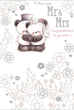 "Wedding Day Greetings Card - Panda Couple & Silver Glitter Flowers 7.75"" x 5.25"""