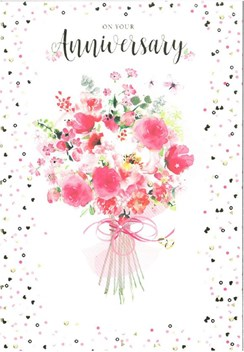 """Open Wedding Anniversary Card - Pink Flowers and Gold Foil 7.75"""" x 5.25"""""""