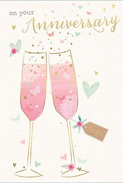 "Open Wedding Anniversary Card - Champagne Flutes & Little Hearts 7.75"" x 5.25"""
