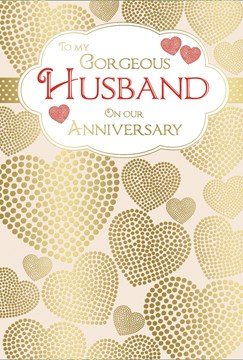 "Husband Wedding Anniversary Card - Red Text & Gold Metallic Hearts 7.75"" x 5.25"""