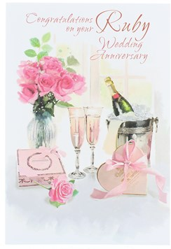 "Ruby 40th Wedding Anniversary Card -Champagne Flowers & Chocolates 7.75"" x 5.25"""
