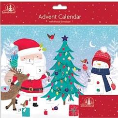 "Children's Christmas Advent Calendar - Cute Santa Snowman Xmas Tree 9.75""x8"""