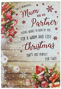 """Mum & Partner Christmas Card - Decorations Snowflakes & Red Foil 9"""" x 6.25"""""""