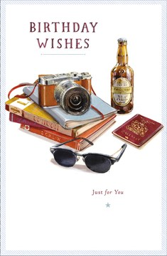 "Open Male Birthday Card - Beer Bottle, Camera, Sunglasses & Passport 9"" x 5.75"""