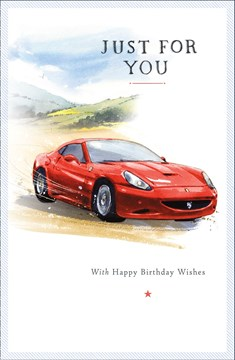 "Open Male Birthday Card - Red Sports Car, Countryside & Little Star 9"" x 5.75"""