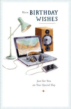 "Open Male Birthday Card - Black Laptop, Mobile Phone & Headphones 9"" x 5.75"""
